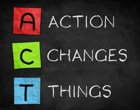 Action Changes Things. ACT - Action Changes Things chalkboard concept Stock Photos