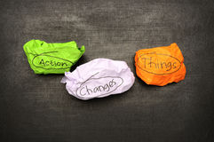 Action Changes Things Concept. Crumpled papers with action changes things writing on blackboard Stock Images