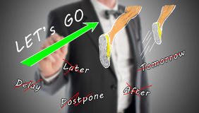 Action concept drawn by a businessman Royalty Free Stock Images
