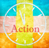 Action concept, word and drawing clock. On colorful texture background Royalty Free Stock Photo