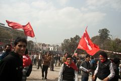 Action CPN-UML against the Maoist party in Nepal Stock Photography