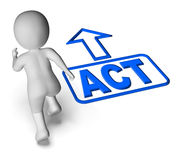 Action d'urgence d'acte et d'expositions courantes de caractère illustration de vecteur