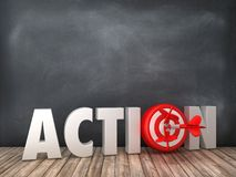 ACTION 3D Word with Target on Chalkboard Background. High Quality 3D Rendering vector illustration