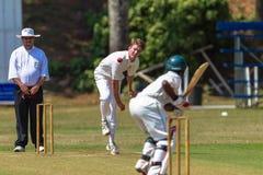 Action de bille de batteurs d'arbitre de chapeau melon de cricket Photos stock