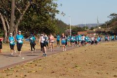 Action de course de marathon de dames Image libre de droits