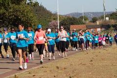 Action de course de marathon de dames Photographie stock libre de droits