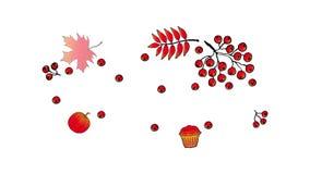 Action de grâces heureuse Bannière animée Logo avec des feuilles de sorbe et de chêne, gland, baies de sorbe sur un fond blanc illustration de vecteur