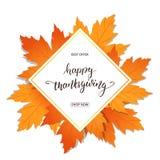 Action de grâces heureuse Bannière de vente pour le jour de thanksgiving Remettez le lettrage sur le cadre avec le feuillage à la Images stock