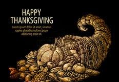 Action de grâces heureuse Klaxon de beaucoup Corne d'abondance avec des fruits et légumes Images stock