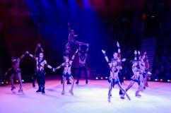 Action de la troupe artistique de cirque de Moscou sur la glace Photos libres de droits