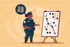 Action de planification de femme de police d'afro-américain sur le conseil blanc portant le fond femelle uniforme d'On Blue Brick Photos stock