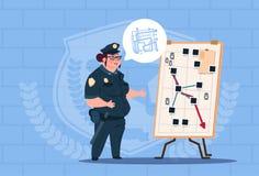 Action de planification de femme de police sur le conseil blanc portant le fond femelle uniforme d'On Blue Bricks de garde Image libre de droits