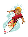 Action de surfer de bande dessinée Illustration Stock