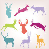 Action deer silhouette set Stock Images