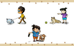 Action with dog. Three actions of owner and dogs Stock Image