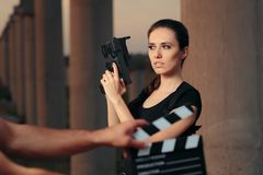 Action Female Superhero Actress Movie Star Shooting Scene