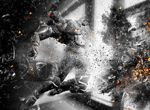 Action figure in explosion. 3D action figure in explosion of glass and debris with flaming embers Stock Images