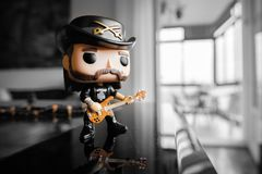 Action figure of Lemmy Kilmister from Motorhead heavy metal band. Illustrative editorial of Funko Pop action figure of Lemmy Kilmister the bassist and frontman Stock Image