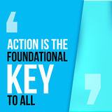 Action is the foundational key to all. Motivation poster, quote background Stock Photo