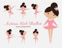 Action girl ballet vector illustration