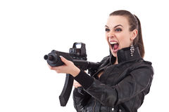 Action girl whit rifle Stock Photo
