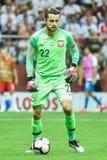In action goalkeeper Lukasz Fabianski. WARSAW, POLAND - JUNE 10, 2019: Qualifications Euro 2020  match Poland - Israel 4:0. In action goalkeeper Lukasz Fabianski stock image