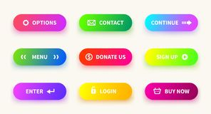 Action gradient button. Learn more web ui navigation buttons, mobile game app, download banner. Vector gradient stock illustration