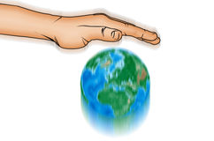 Action hand and world globe Stock Photography