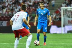 In action Hatem Elhamed. WARSAW, POLAND - JUNE 10, 2019: Qualifications Euro 2020  match Poland - Israel 4:0. In action Hatem Elhamed stock photos