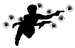 Action hero in gun fight silhouette royalty free illustration