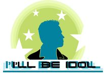 Action hero. Movie character on a green background with stars and creative lettering Royalty Free Illustration