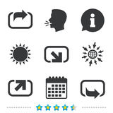 Action icons. Share symbols. Send forward arrow signs. Information, go to web and calendar icons. Sun and loud speak symbol. Vector Royalty Free Stock Images
