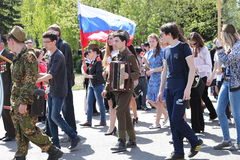 The action Immortal regiment on Victory parade. Royalty Free Stock Images