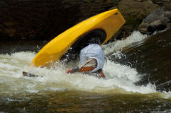 Action in a kayak competition. Royalty Free Stock Photo