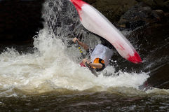 Action in a kayak competition. Royalty Free Stock Image