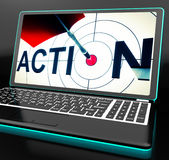 Action On Laptop Shows Motivation Stock Image