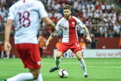 In action Mateusz Klich. WARSAW, POLAND - JUNE 10, 2019: Qualifications Euro 2020  match Poland - Israel 4:0. In action Mateusz Klich royalty free stock photography