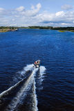 Action motor boat. The motor boat on the river Royalty Free Stock Photo