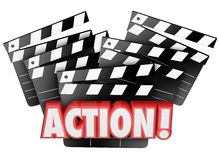 Action Movie Clapper Boards Acting Direction Producing Film Maki. Action word on movie clapper boards to illustrate directing, acting, producing or making a film Stock Photo