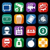 Action Movie Icons Set Stock Images