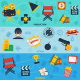 Action movie line banners. Action movie cinema production premiere flat compositions  vector illustration Royalty Free Stock Image