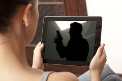 Action  movie on tablet Stock Photo