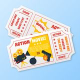Action movie tickets set. Action movie film cinema professional production tickets set vector illustration Royalty Free Stock Photos