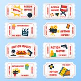 Action movie tickets set Stock Photos