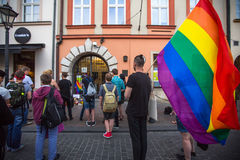 Action near American Consulate in memory of victims of the massacre in popular gay club Pulse in Orlando Stock Image
