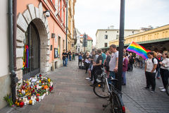 Action near American Consulate in memory of victims of the massacre in popular gay club Pulse in Orlando Royalty Free Stock Photography