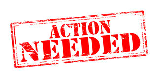 Action needed. Rubber stamp with text action needed inside,  illustration Stock Photo