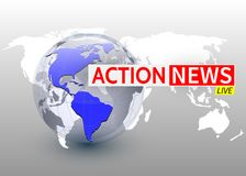 Action news, world news backgorund with planet, TV news design. Vector vector illustration