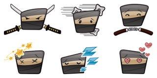 Action Ninja Vector Icon Set illustration stock