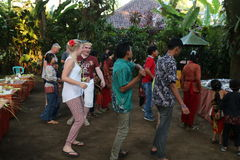 Action by the orphans of a Cacao, coffee and Spice plantation at the village of Kalibaru in East Java Indonesia Stock Photography